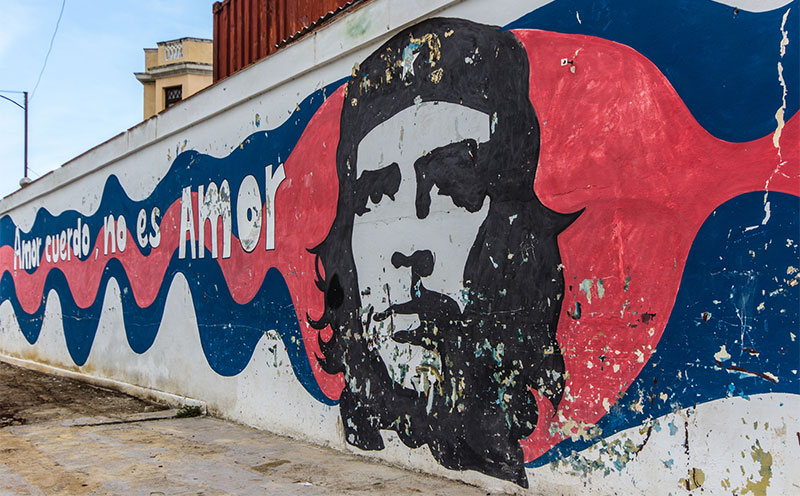 Graffiti außerhalb des Museo de la Revolución. Che Guevara wird verehrt