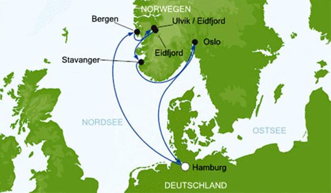 Norwegen Reiseverlauf Aida Kreuzfahrt