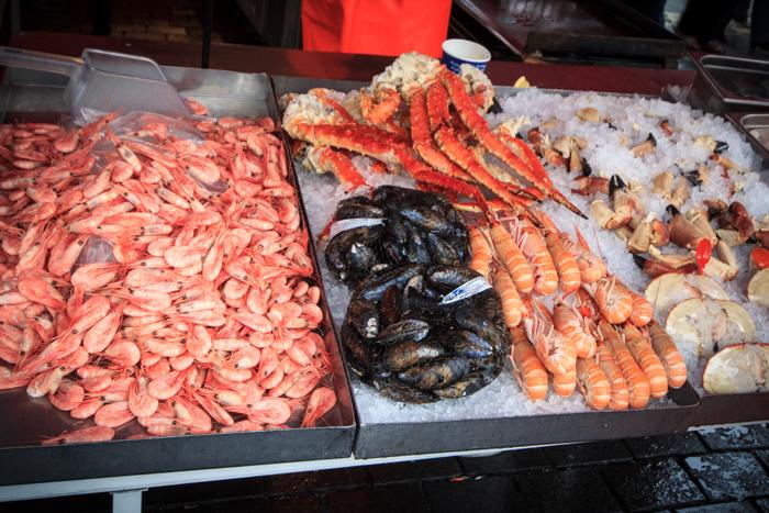 Fischmarkt in Bergen Norwegen