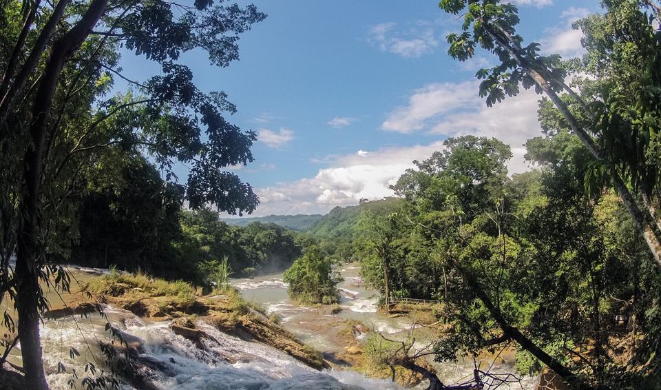 Ausblick von oben auf Agua Azul
