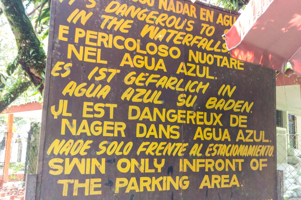Warnschild Agua Azul
