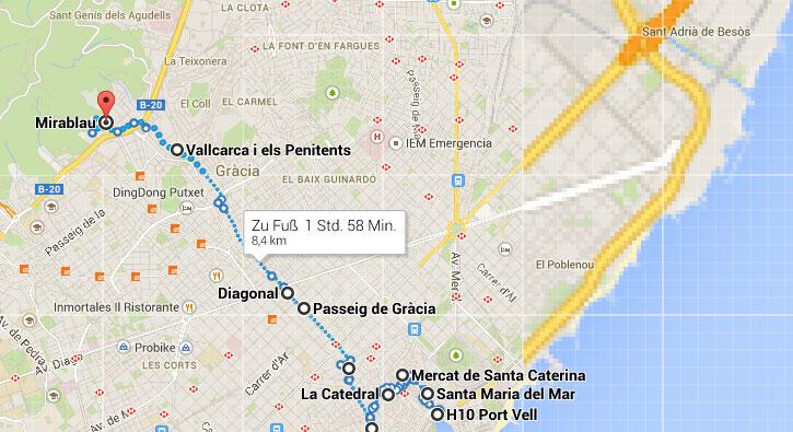 Unsere Route zu Fuß zurch Barcelona
