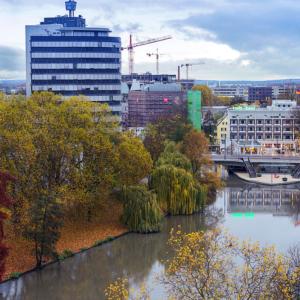 Heilbronn Ausblick vom Götzenturm auf Neckar