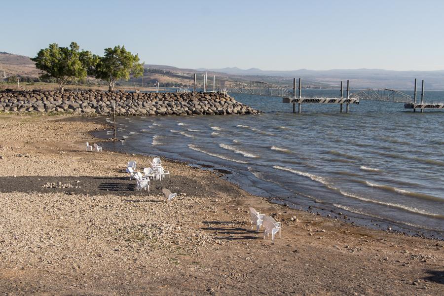 """Der """"Strand"""" des Kibbutz am See Genezareth"""