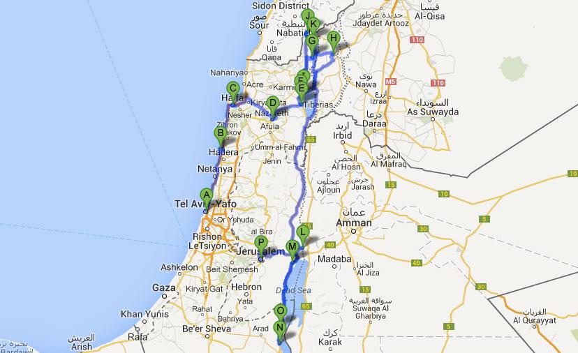 Reiseroute des Israel Roadtrips