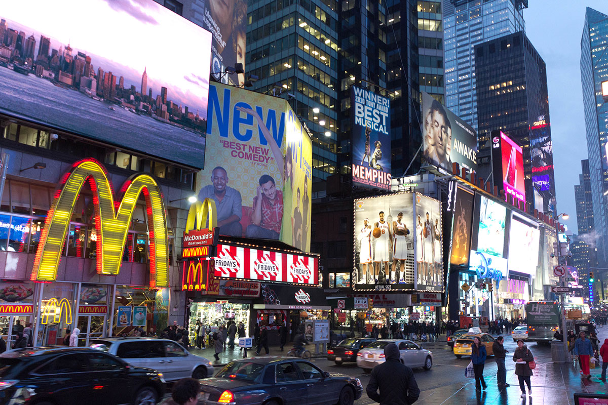 New York Reisebericht Times Square am Abend