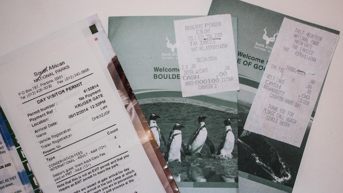 Südafrika Nationalparks Eintrittsbescheinigungen und Rechnung