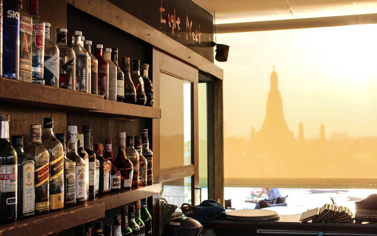 Ausblick Bangkok auf Temler der Morgenröte