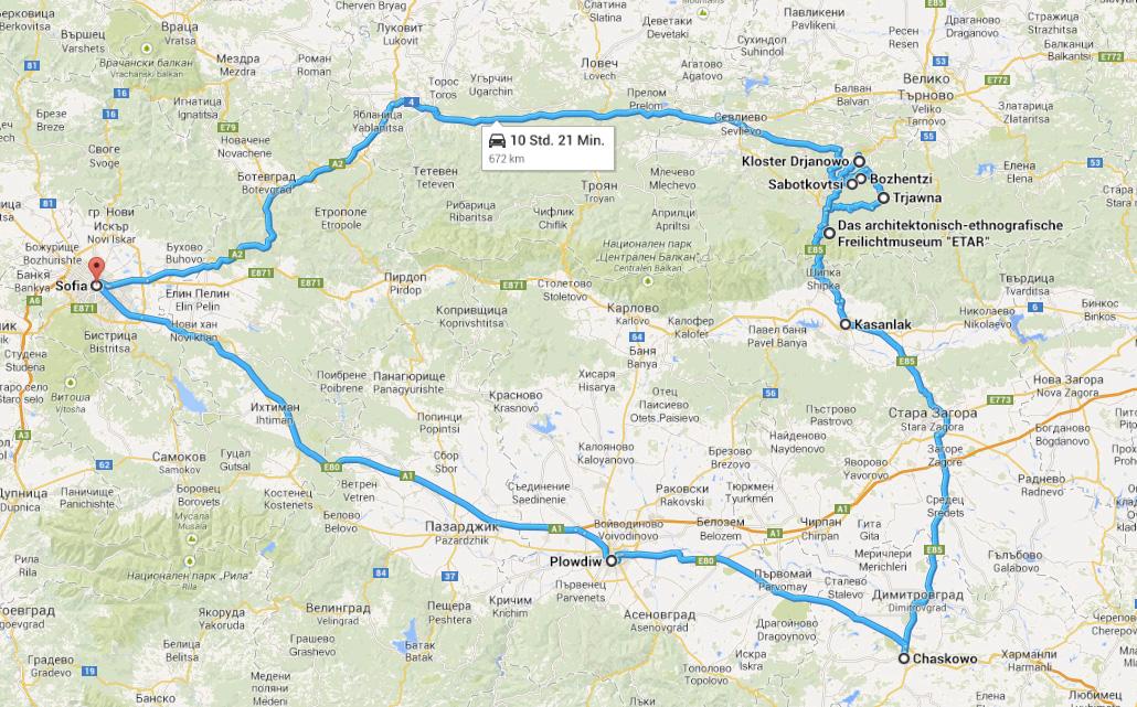 Reiseroute durch Bulgarien