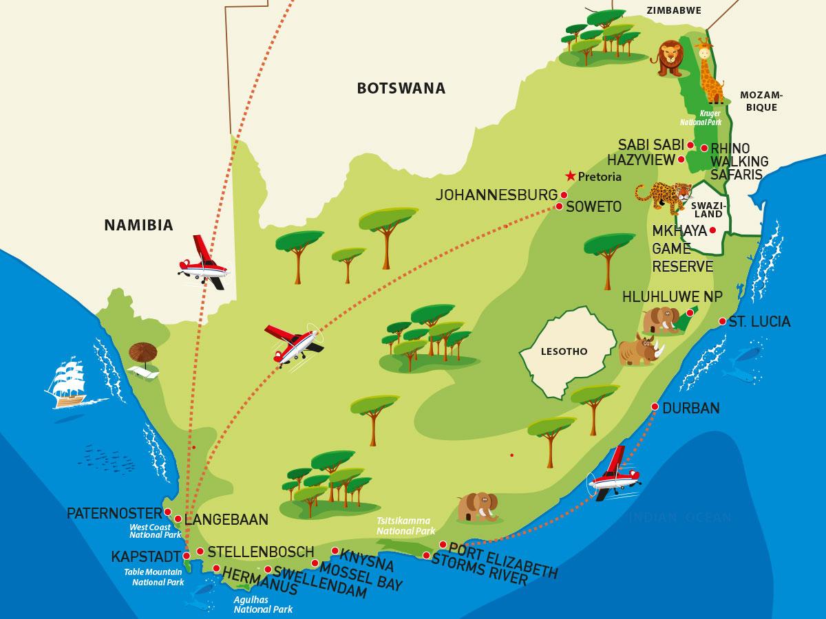 Südafrika Reisetipps: Reiseroute Südafrika
