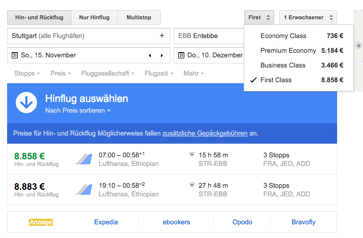google flights kategorien anzeigen