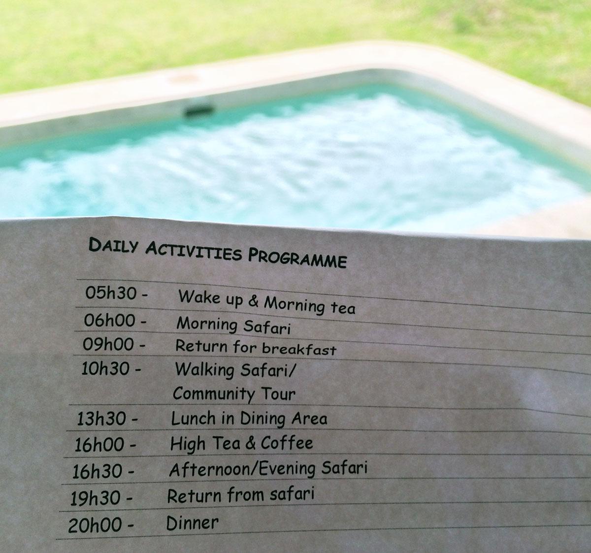 Safari Timetable