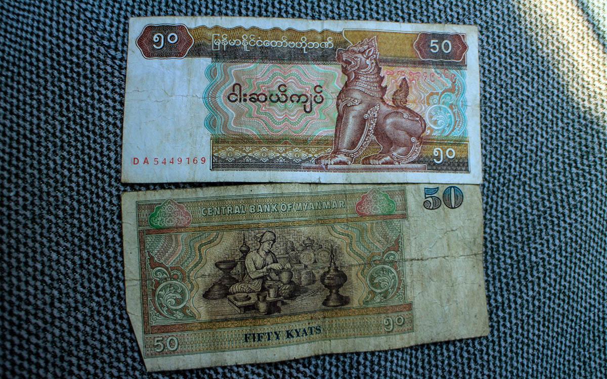 Myanmar Reise Kosten Geldscheine in Myanmar