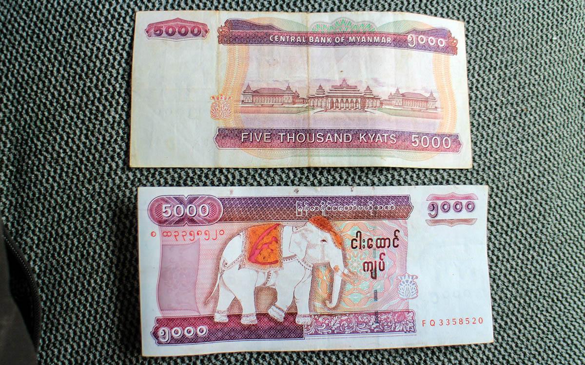 Myanmar Reise Kosten 5000 Kyat Schein in Myanmar