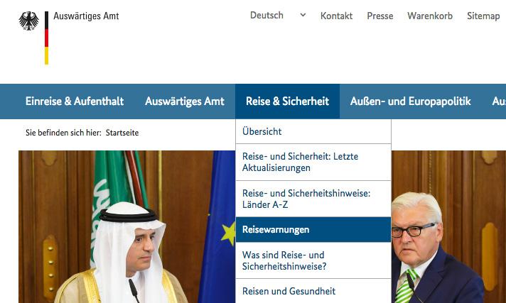 Webseite Auswärtiges Amt Reisewarnung