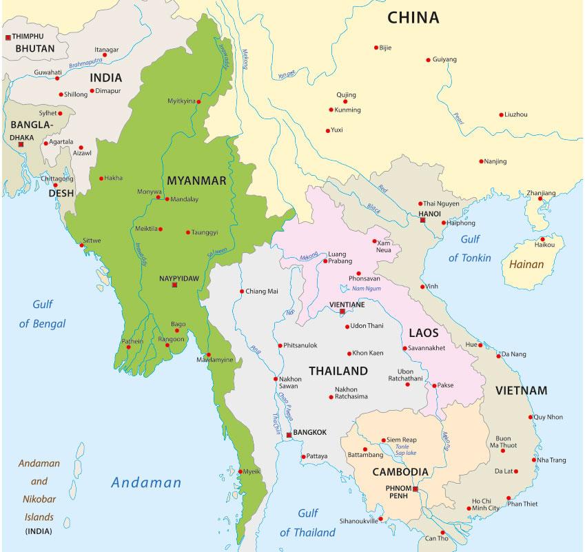 Myanmar Karte und Lage