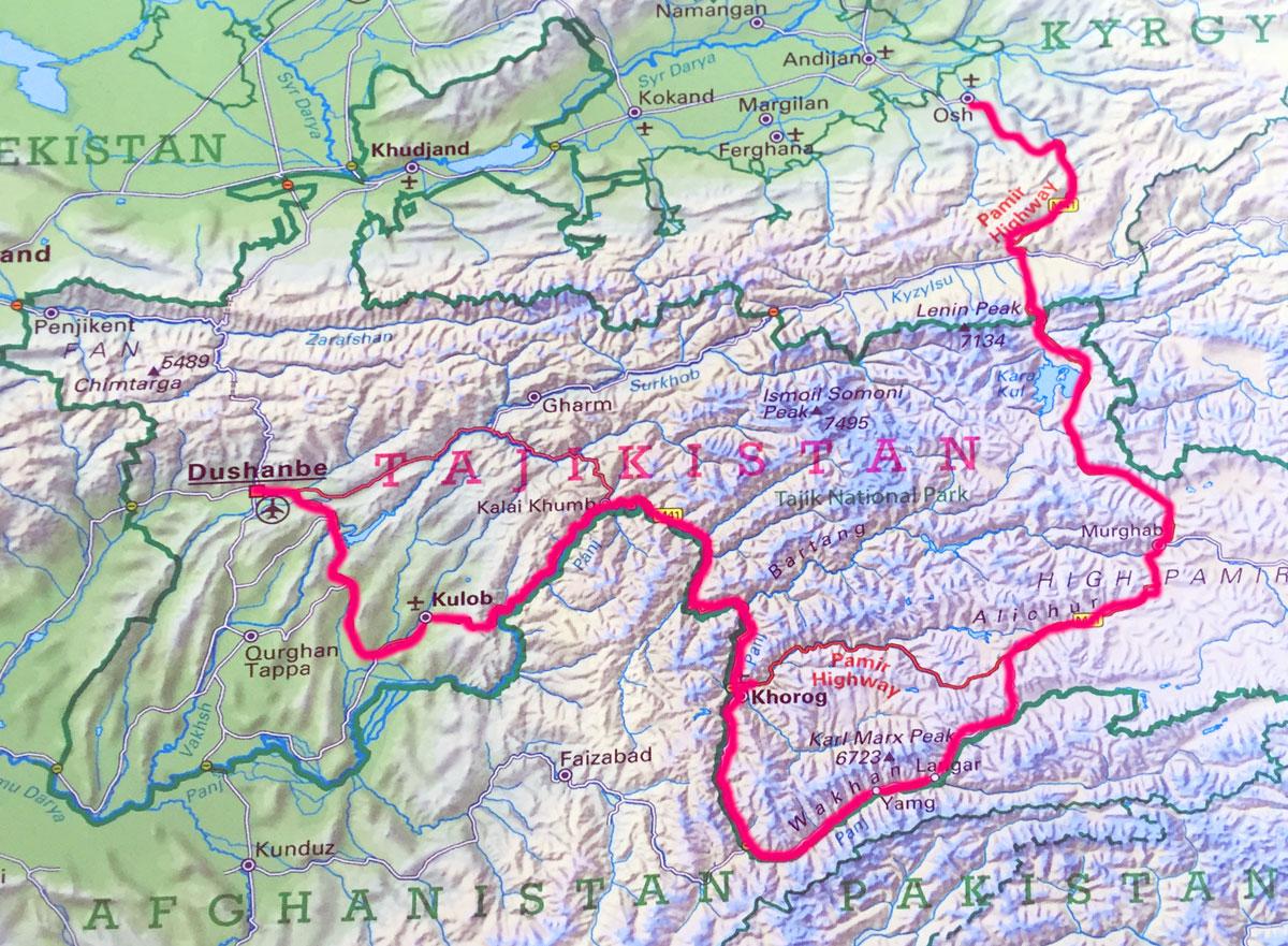 Karte und unsere Reiseroute Pamir Highway von Duschanbe nach Osh