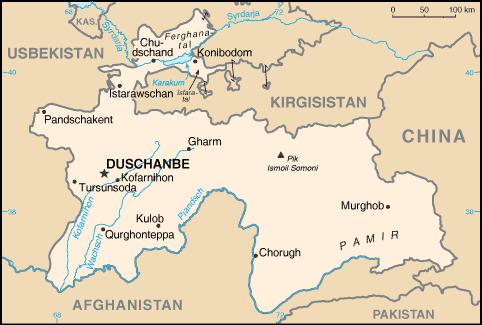 Karte Übersicht Tadschikistan