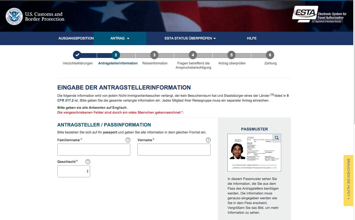 ESTA USA Antrag ausfüllen