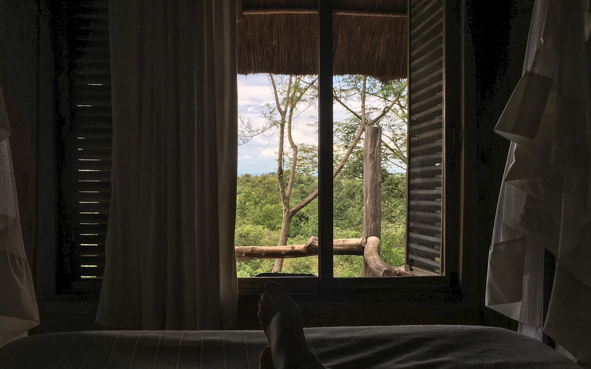 Ausblick Bett über Queen Elizabeth Nationalpark