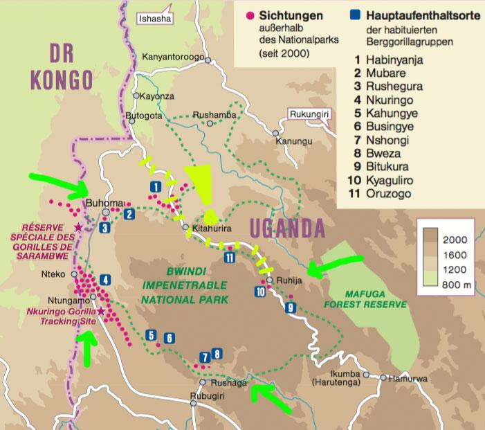 Karte Bwindi Gorilla-Trekking