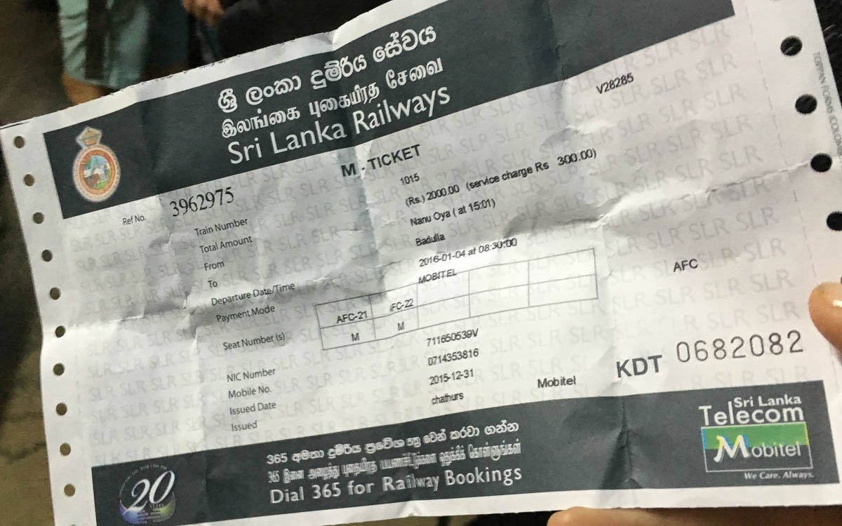 Zugticket in Sri Lanka