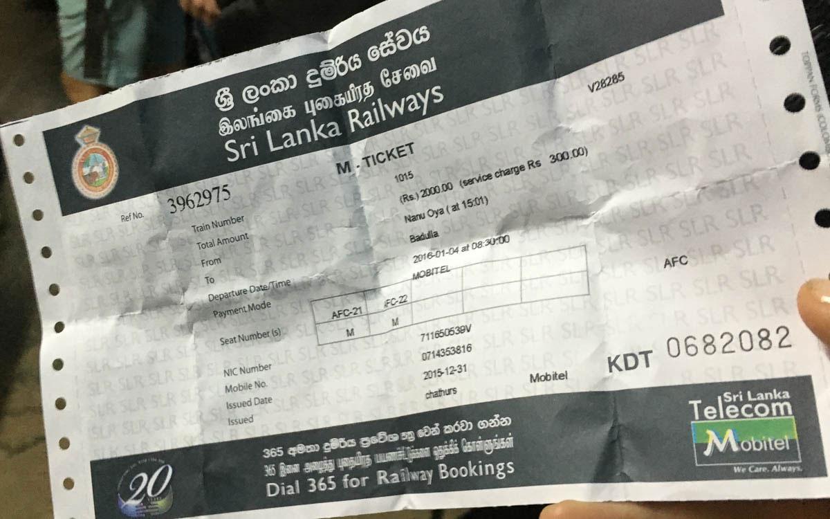 Zugticket in Sri Lanka