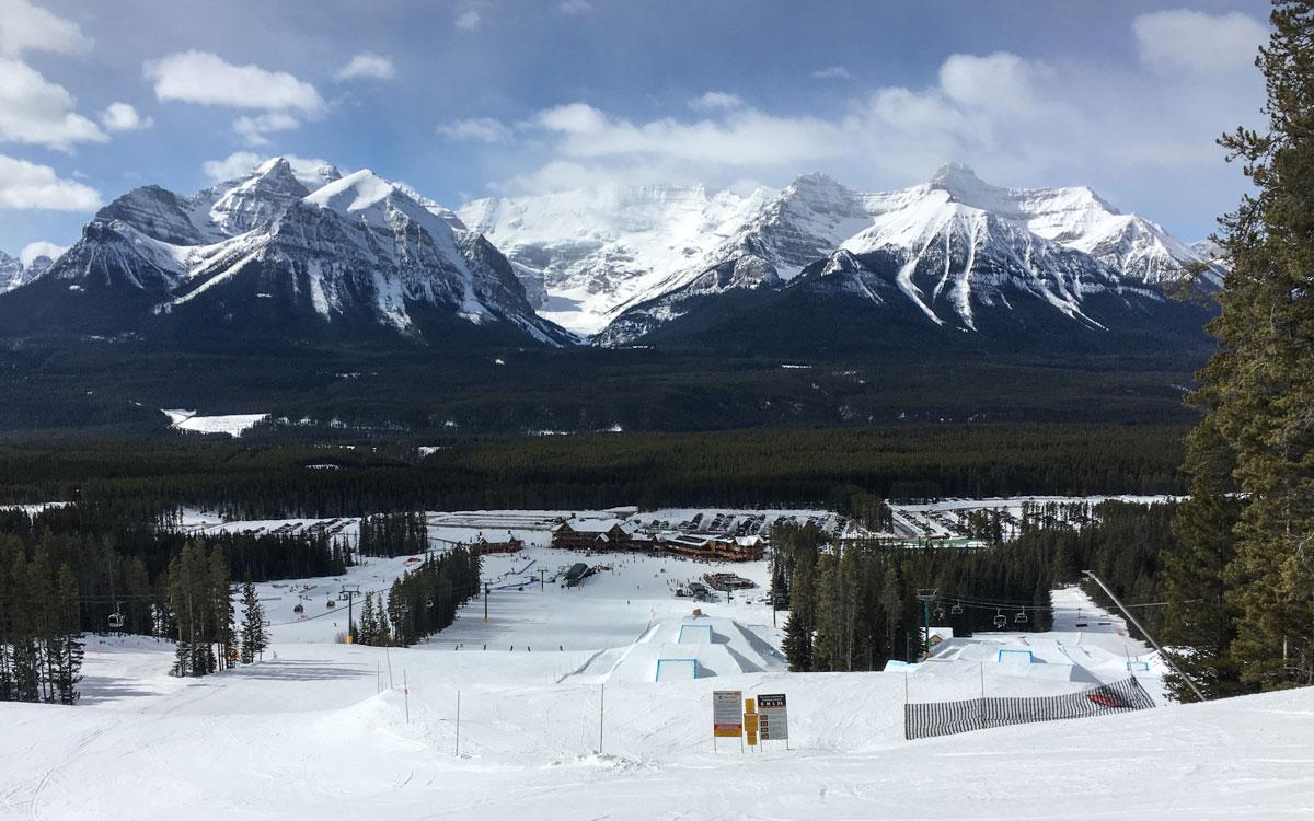 Skifahren Kanada Lake Louise Skiresort: Leere Pisten und Fun Parks