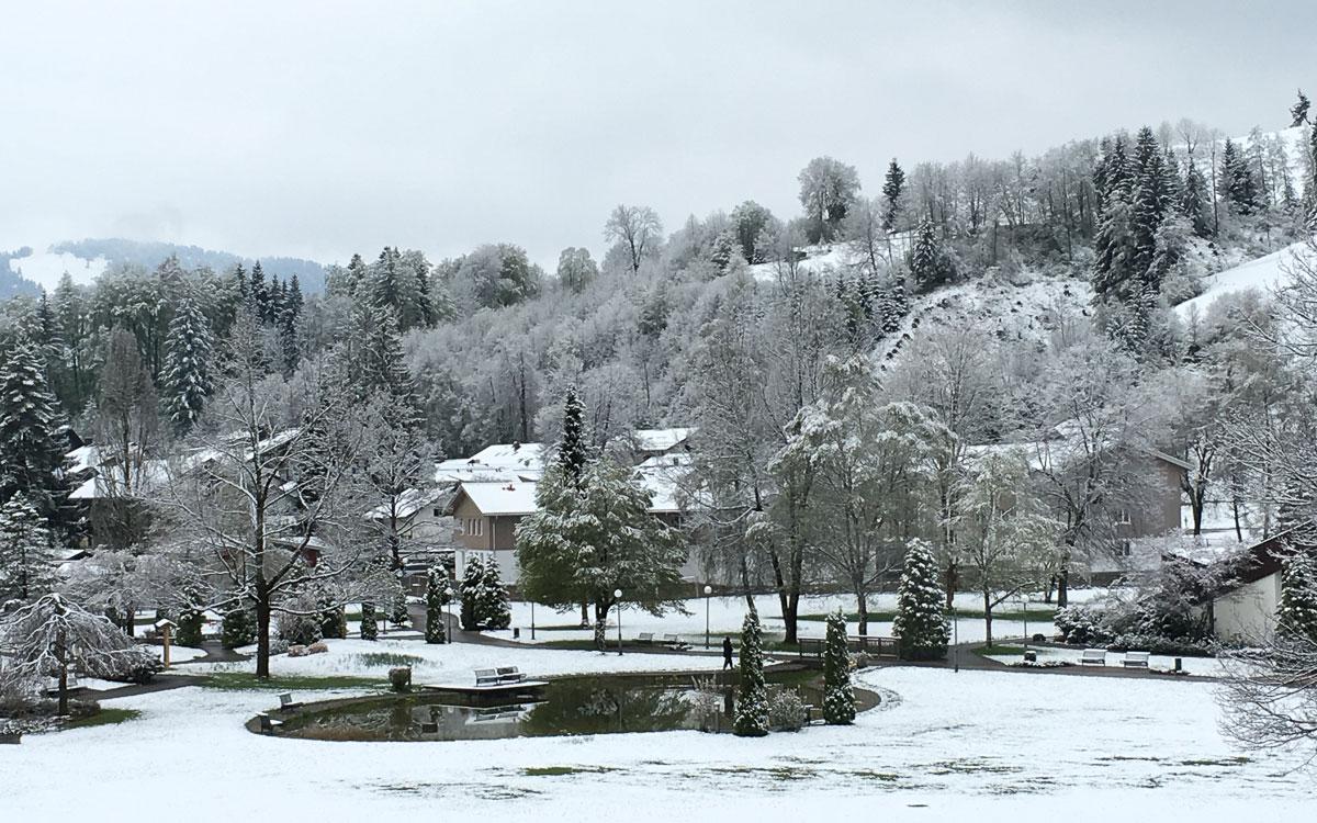Oberstaufen Allgäu Schnee im April