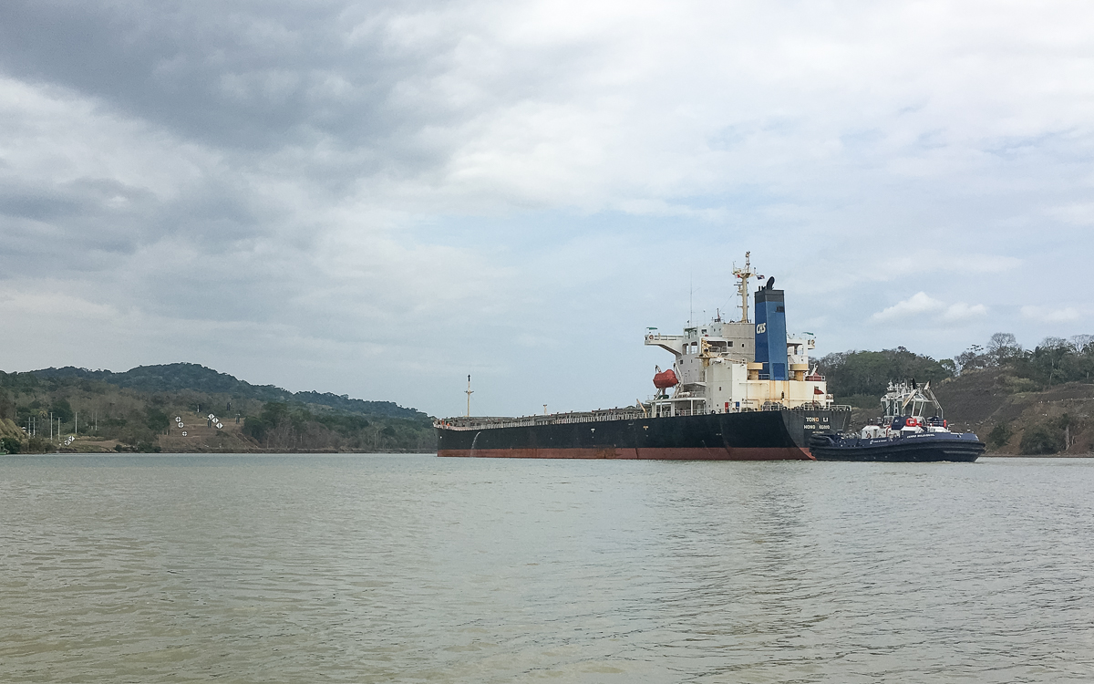 Panama Sehenswürdigkeiten Panamakanal Lotsenschiff mit Kontainerschiff