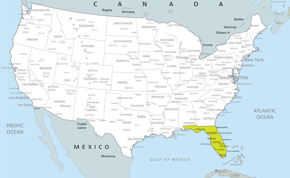 Beste Reisezeit Florida: Lage und Karte