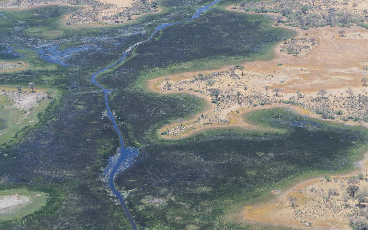 Botswana Reisetipps Okavango Delta Luftaufnahme