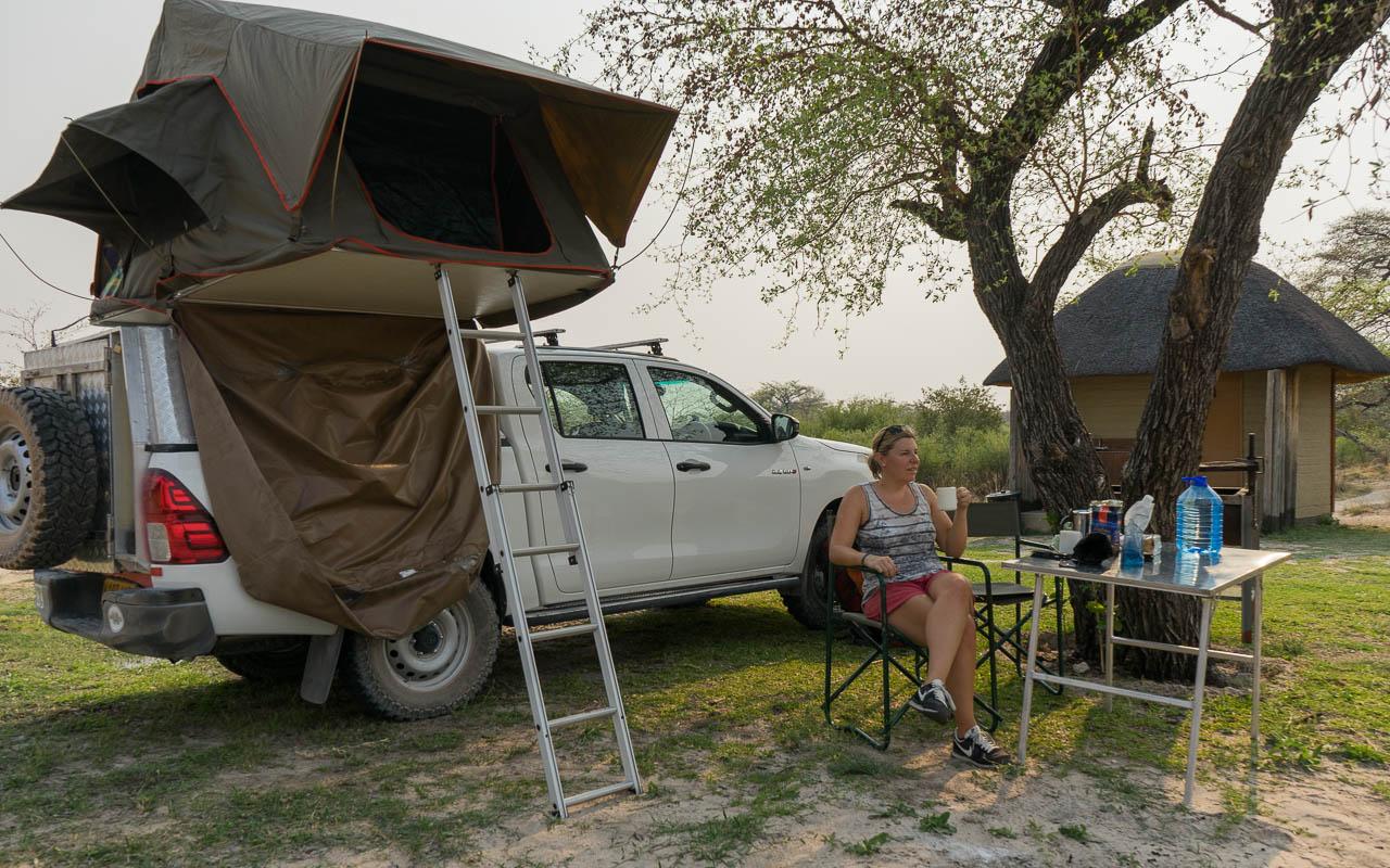 Autofahren Botswana Auto mit Dachzelt Toyota Hilux