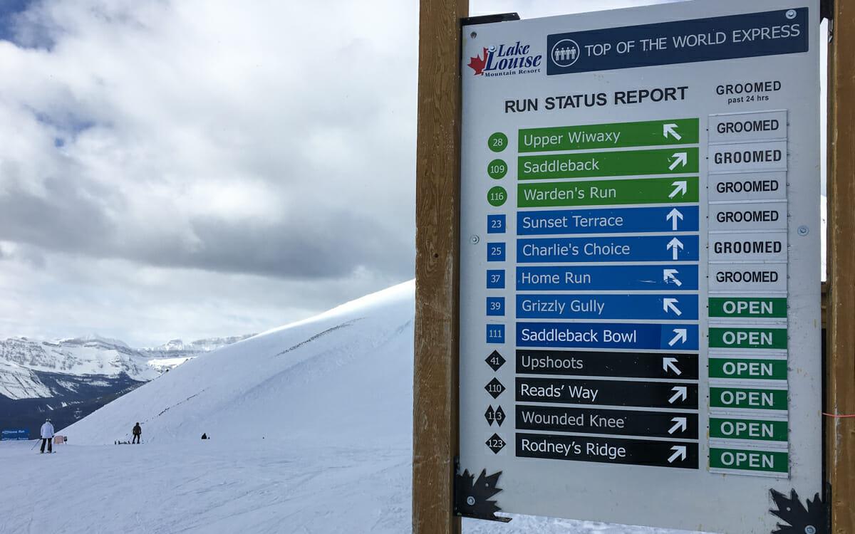Kanada Skifahren Lake Louise Pistennamen