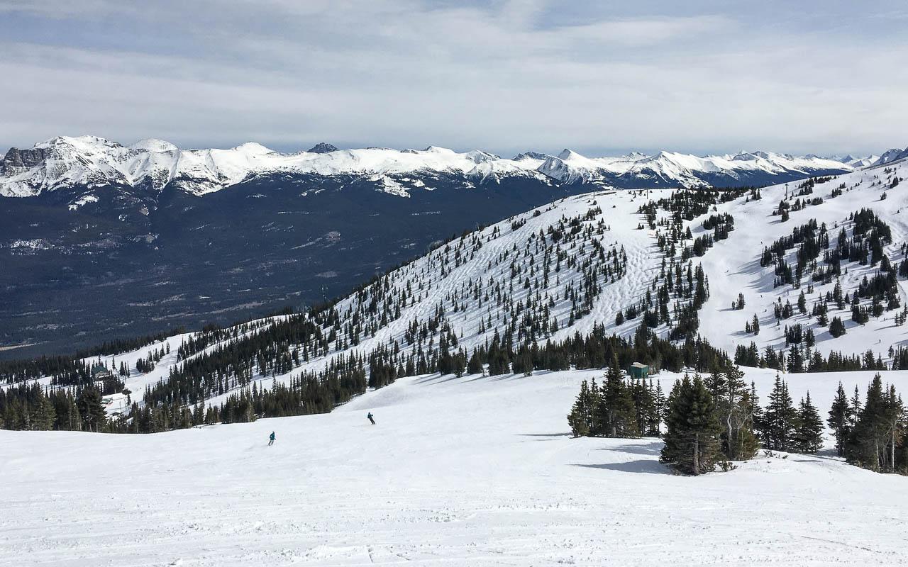 Skifahren Kanada Aussicht auf die Rockies - Marmot Basin