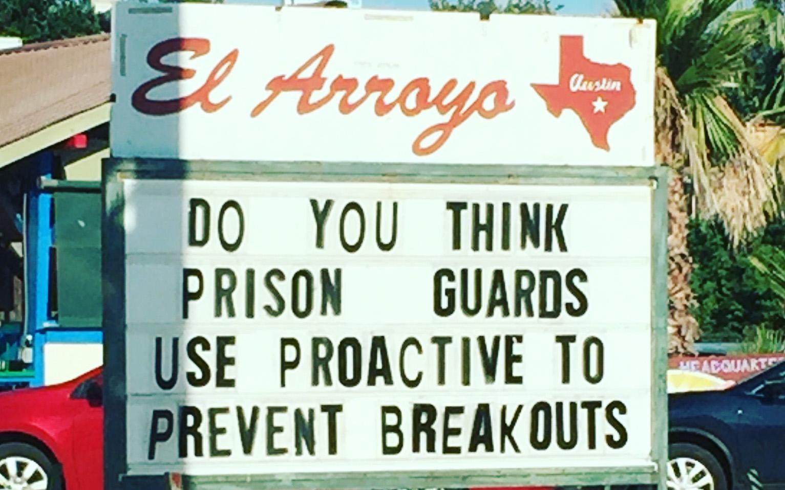 Austin Texas Tipps El Arroyo TexMex Werbetafel