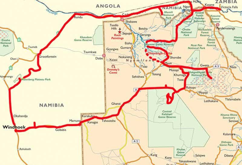 Botswana Rundreise Route