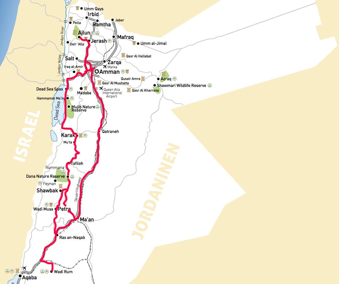 JordanienRundreise Karte Route