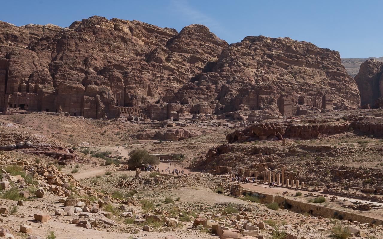 Ausblick Petra Jordanien Säulenstraße