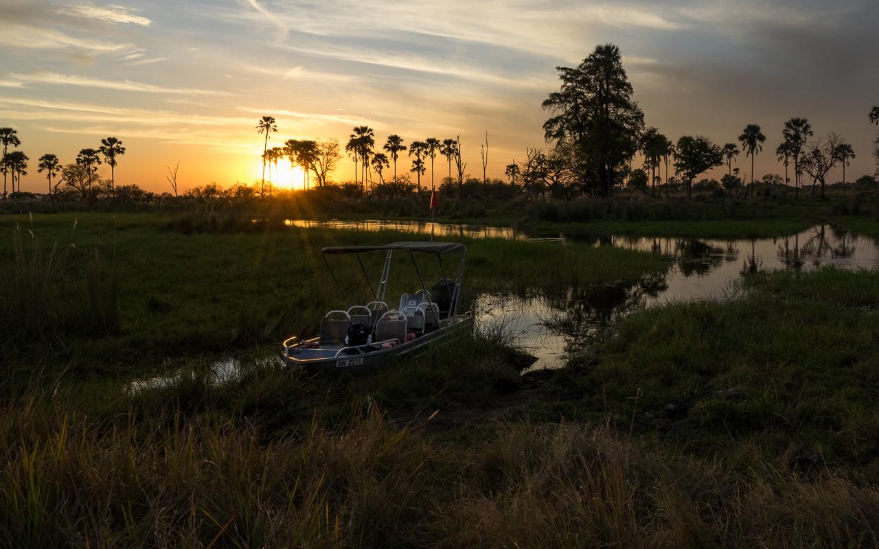 Okavango Delta Botswana Bootsfahrt zum Sonnenuntergang