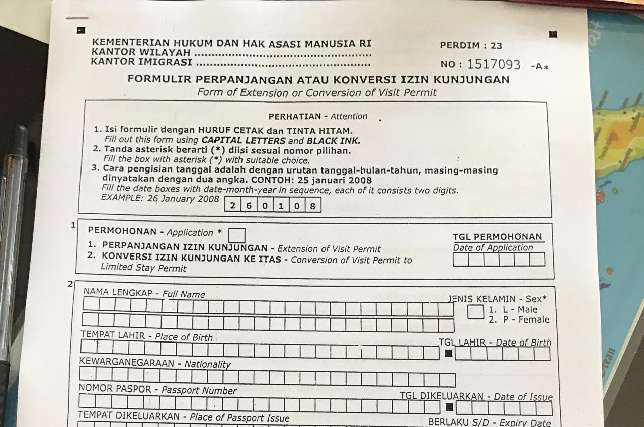 visum-indonesien-verlaengern-dokument-ausfuellen