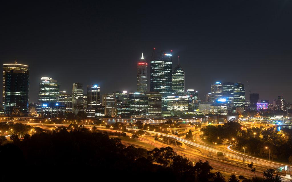 Perth bei Nacht Skyline
