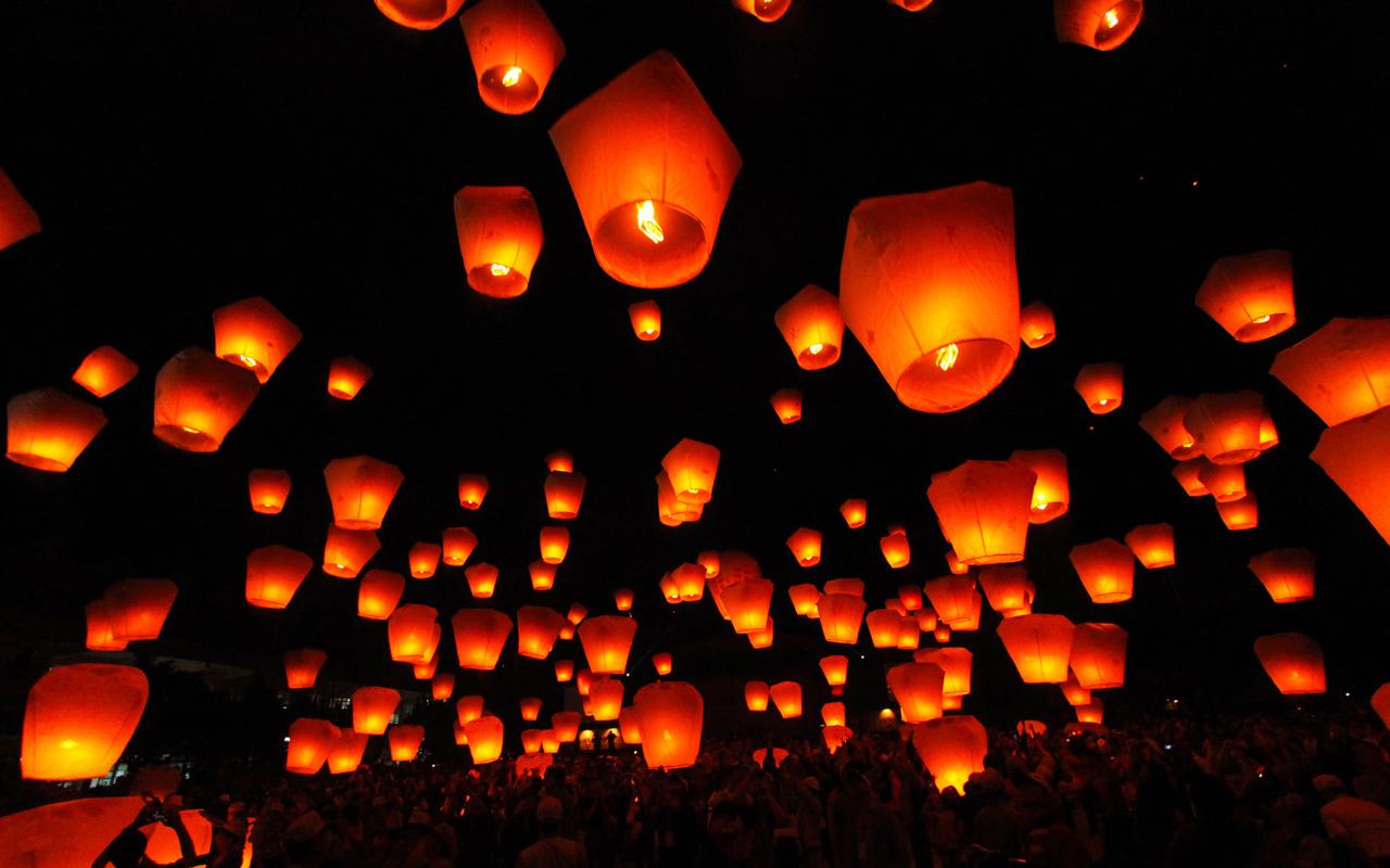 Urlaub im Februar Lantern Festival Taiwan