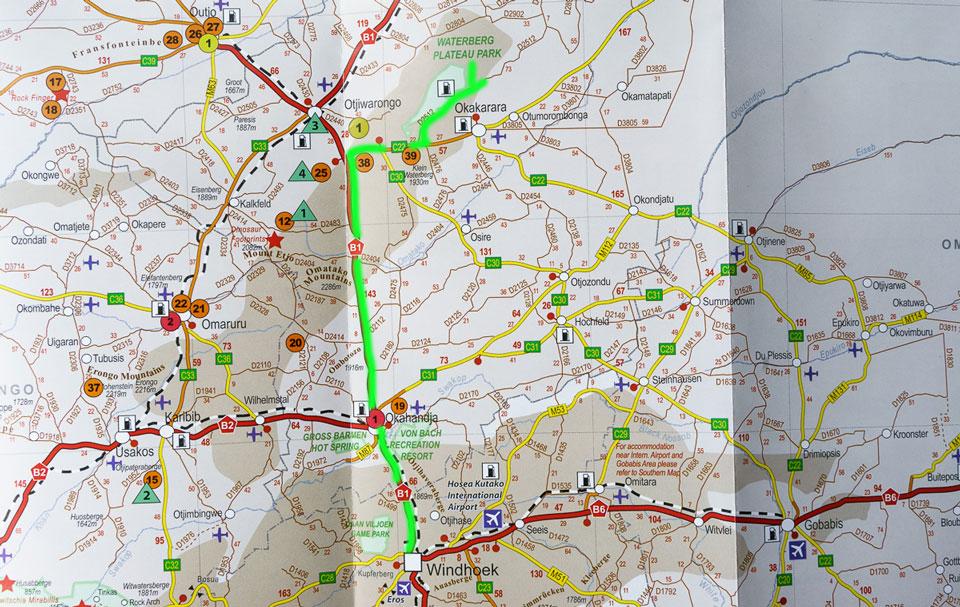 Waterberg Plateau Weg aus Windhoek Karte