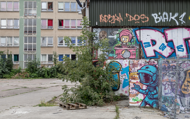 Streetart im Hinterhof der Platoon Kunsthalle in Berlin