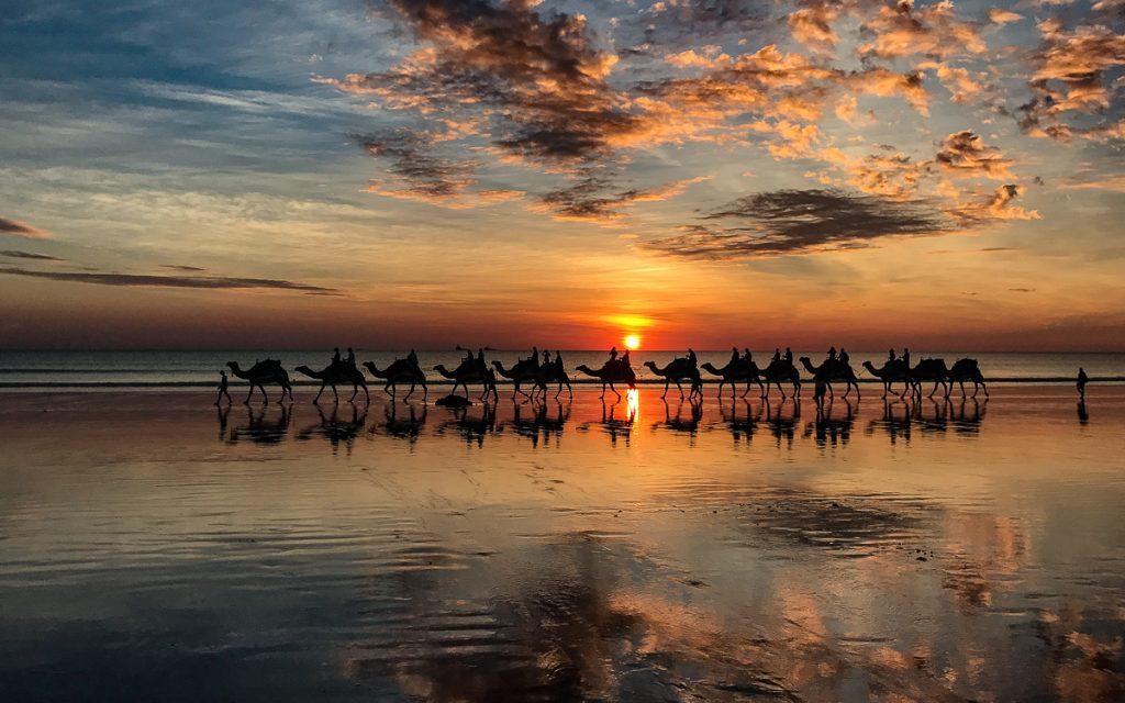 Cable Beach Sonnenuntergang Kamel Broome