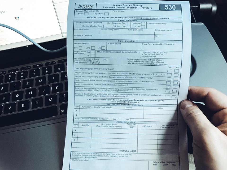 Einreiseformular für Kolumbien