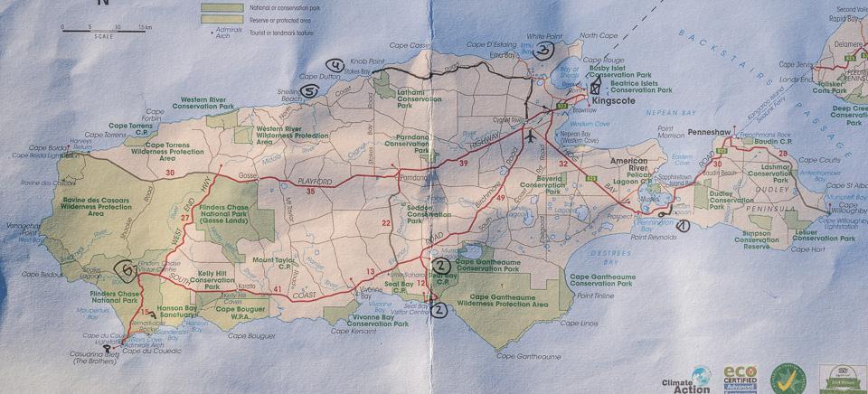 Karte von Kangaroo Island