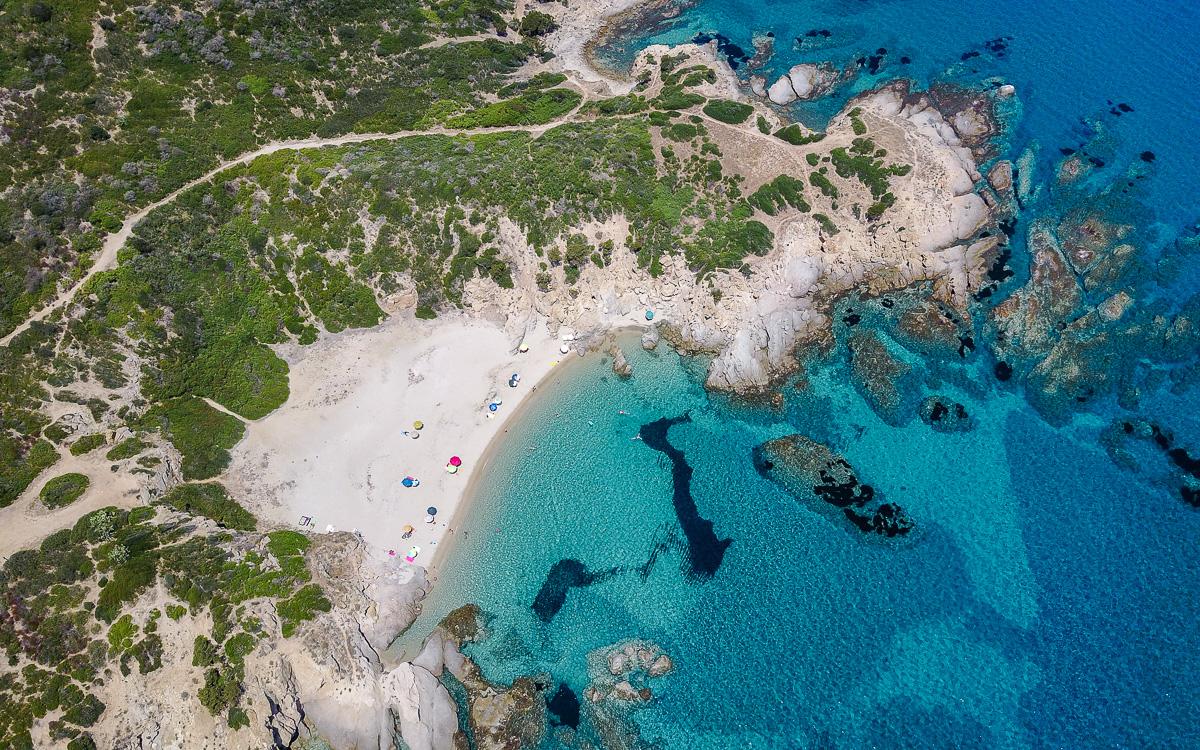Capo Ferrato Luftaufnahme Sardinien Tipps