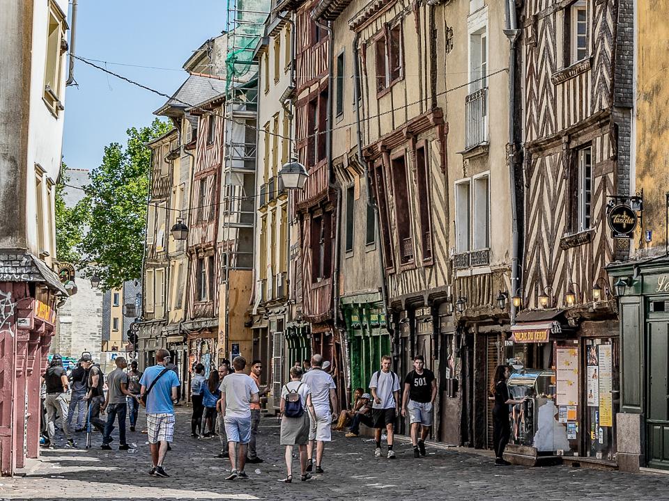 Fachwerkhäuser in Rennes, Bretagne